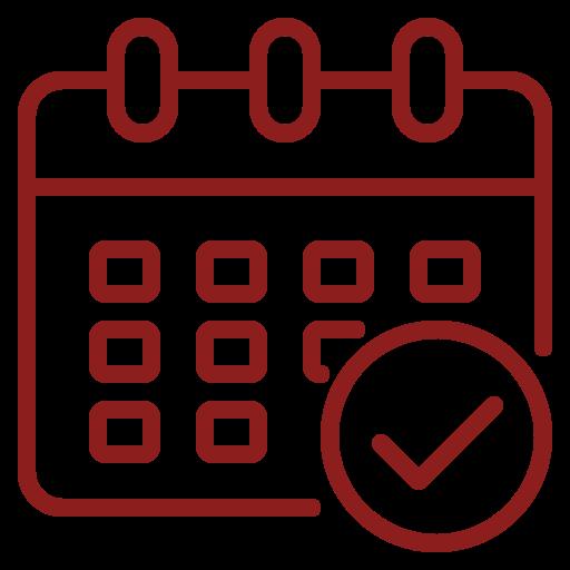 Rød kalender - ikon til depositumsgaranti